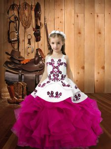 Floor Length Ball Gowns Sleeveless Fuchsia Little Girls Pageant Dress Wholesale Lace Up