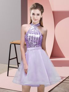Dazzling Sequins Quinceanera Court Dresses Lavender Backless Sleeveless Mini Length