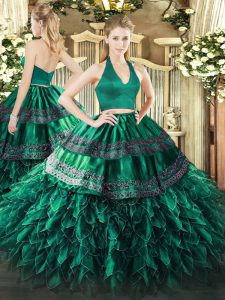 Dynamic Dark Green Quince Ball Gowns Military Ball and Sweet 16 and Quinceanera with Appliques and Ruffles Halter Top Sleeveless Zipper