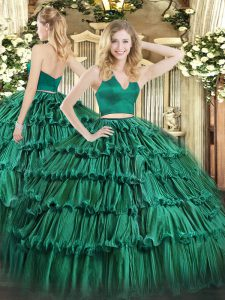Popular Sleeveless Ruffled Layers Zipper Quinceanera Dress