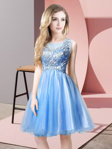 Baby Blue Tulle Zipper Evening Dress Sleeveless Knee Length Beading