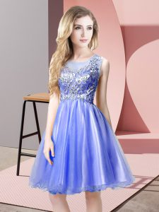 Customized Blue Scoop Zipper Beading Prom Evening Gown Sleeveless