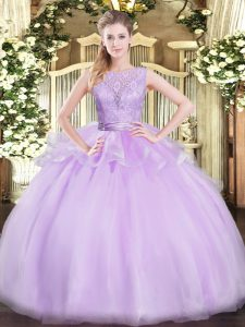 Lavender Scoop Neckline Lace 15 Quinceanera Dress Sleeveless Backless