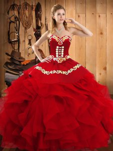 Modern Wine Red Satin and Organza Lace Up Quinceanera Gowns Sleeveless Floor Length Embroidery and Ruffles
