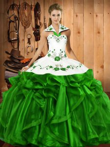 Sleeveless Floor Length Embroidery and Ruffles Lace Up Quinceanera Gown with Green