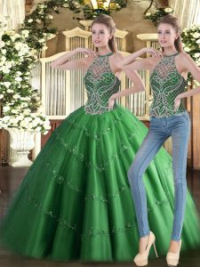 Tulle Sleeveless Floor Length Quinceanera Gowns and Beading