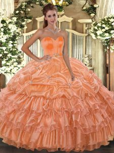 Discount Ball Gowns Quinceanera Gown Orange Sweetheart Organza Sleeveless Floor Length Lace Up