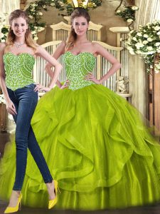 Olive Green Lace Up Quinceanera Dresses Beading and Ruffles Sleeveless Floor Length