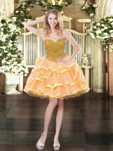 Ideal Peach Ball Gowns Organza Sweetheart Sleeveless Beading and Ruffled Layers Mini Length Lace Up Prom Gown