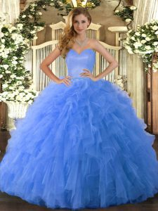 Sweetheart Sleeveless Lace Up Quinceanera Dresses Blue Tulle