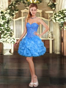 Decent Baby Blue Ball Gowns Beading and Ruffles Prom Gown Lace Up Organza Sleeveless Mini Length