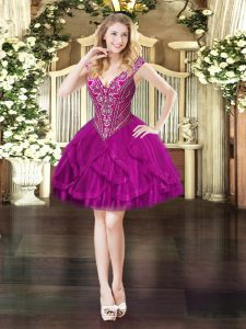 Mini Length Ball Gowns Sleeveless Fuchsia Prom Party Dress Lace Up