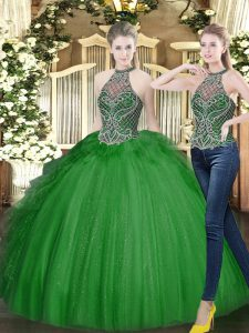 Unique Beading and Ruffles Ball Gown Prom Dress Dark Green Lace Up Sleeveless Floor Length