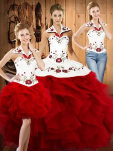 Sweet Wine Red Sweet 16 Dresses Military Ball and Sweet 16 and Quinceanera with Embroidery and Ruffles Halter Top Sleeveless Lace Up