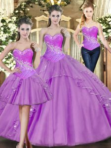 Custom Fit Lilac Lace Up Vestidos de Quinceanera Beading Sleeveless Floor Length