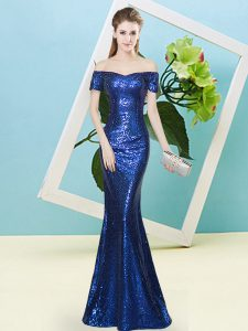 Royal Blue Prom Dress Prom and Party with Sequins Off The Shoulder Short Sleeves Zipper