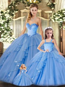 Custom Design Baby Blue Organza Lace Up 15 Quinceanera Dress Sleeveless Floor Length Beading and Ruffles