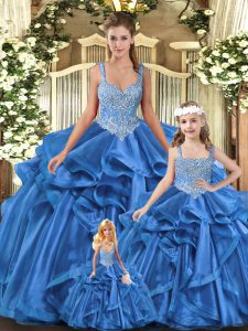 Best Blue Sleeveless Tulle Lace Up Ball Gown Prom Dress for Military Ball and Sweet 16 and Quinceanera
