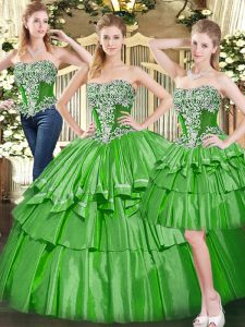 Trendy Floor Length Green Sweet 16 Dresses Tulle Sleeveless Beading and Ruffled Layers