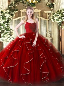 Deluxe Wine Red Organza Zipper Straps Sleeveless Floor Length Sweet 16 Dresses Ruffles