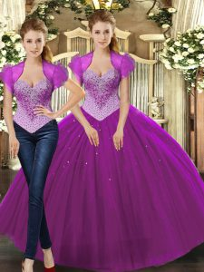 Floor Length Fuchsia Ball Gown Prom Dress Tulle Sleeveless Beading