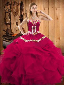 High End Fuchsia Sleeveless Embroidery and Ruffles Floor Length 15th Birthday Dress