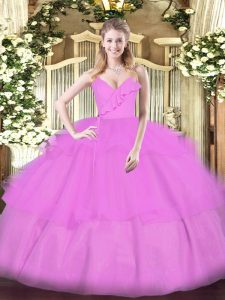 Sumptuous Floor Length Lilac Quinceanera Gown Spaghetti Straps Sleeveless Zipper