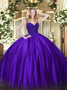 Sleeveless Satin Floor Length Backless Sweet 16 Dress in Purple with Beading and Lace
