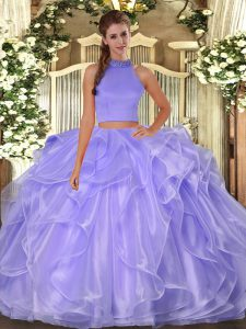 Floor Length Side Zipper Quince Ball Gowns Lavender for Military Ball and Sweet 16 and Quinceanera with Beading and Ruffles
