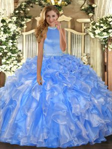 Superior Halter Top Sleeveless Organza Ball Gown Prom Dress Beading and Ruffles Backless