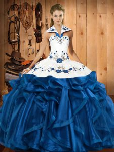 Hot Selling Floor Length Ball Gowns Sleeveless Blue Quinceanera Gown Lace Up