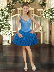 V-neck Sleeveless Organza Prom Dresses Beading and Ruffles Lace Up
