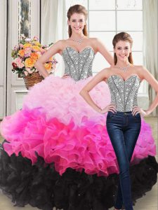 Sumptuous Multi-color Sleeveless Floor Length Beading and Ruffles Lace Up Quinceanera Dresses