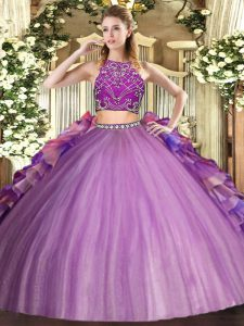 Glittering Multi-color Two Pieces High-neck Sleeveless Tulle Floor Length Zipper Beading and Ruffles Quinceanera Gowns