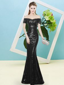 Traditional Short Sleeves Sequins Zipper Dress for Prom
