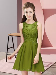 Chiffon Scoop Sleeveless Zipper Appliques Quinceanera Court Dresses in Olive Green