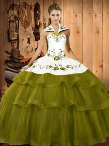 Glittering Olive Green Ball Gown Prom Dress Military Ball and Sweet 16 and Quinceanera with Embroidery and Ruffled Layers Halter Top Sleeveless Sweep Train Lace Up