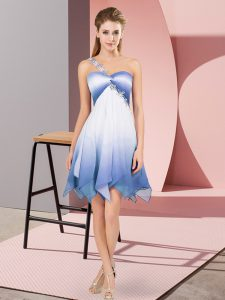 Unique Empire Prom Gown Multi-color One Shoulder Fading Color Sleeveless Asymmetrical Lace Up