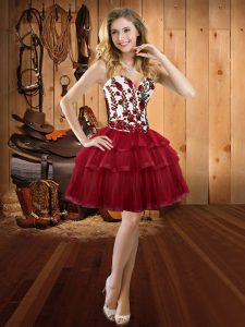 Dazzling Wine Red Sweetheart Lace Up Embroidery and Ruffled Layers Prom Dress Sleeveless