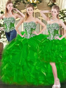 Classical Organza Sweetheart Sleeveless Lace Up Beading and Ruffles Quinceanera Gown in Green