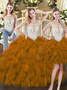 Artistic Brown Sleeveless Beading and Ruffles Floor Length 15 Quinceanera Dress