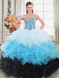 High End Sweetheart Sleeveless Quinceanera Gown Floor Length Beading and Ruffles Multi-color Organza