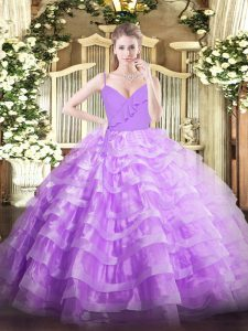 Custom Fit Sleeveless Organza Floor Length Zipper Sweet 16 Quinceanera Dress in Lavender with Ruffled Layers