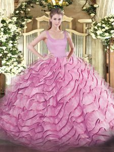 Sleeveless Brush Train Zipper Ruffled Layers Quinceanera Gowns