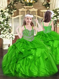 Beading and Ruffles Winning Pageant Gowns Green Lace Up Sleeveless Floor Length