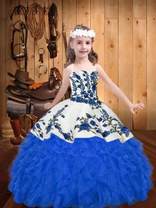 Organza Sleeveless Floor Length Kids Pageant Dress and Embroidery and Ruffles
