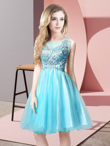 Scoop Sleeveless Prom Dress Knee Length Beading Aqua Blue Tulle