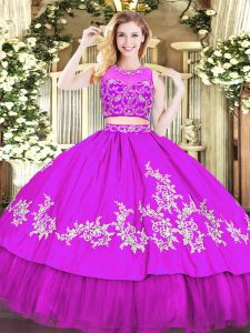 Purple Zipper Sweet 16 Dresses Beading and Appliques Sleeveless Floor Length