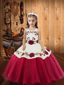 Nice Ball Gowns Winning Pageant Gowns Red Straps Organza Sleeveless Floor Length Lace Up
