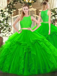 Romantic Green 15th Birthday Dress Military Ball and Sweet 16 and Quinceanera with Ruffles Scoop Sleeveless Zipper